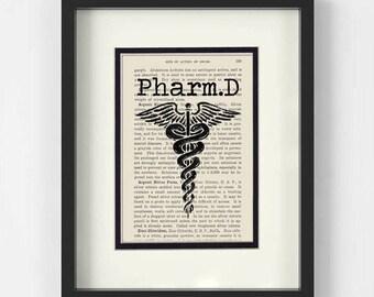 Pharmacy Graduation, Pharmacist Graduation Gift - PharmD over Vintage Pharmacy Book Page - Pharmacist Graduation, Pharmacy Student