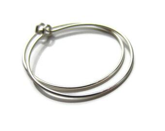 """Nickel Free Solid Silver Hoop Earrings 1"""" Size, One Pair"""