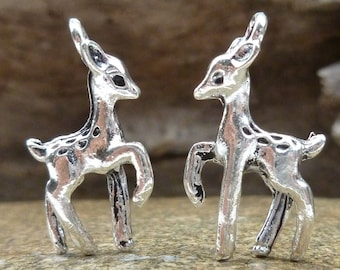 3D Fawn Deer Charms, Antique Silver (6) - S15