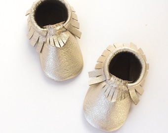 Baby Moccasins, Toddler  Moccasins, Platinum Moccasins Champagne Crib Moccasins, Leather Shoes