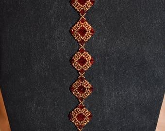 Ruby Square Bead & Crystal Bracelet from Lyuda
