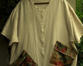Linen Oatmeal Tunic/ Plus Size Linen Tunic/ 3-4X Garden Smock/ Upcycled Tunic-Smock/ Sheerfab Funwear