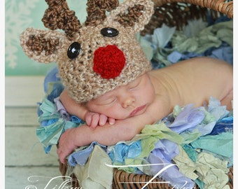 Baby Reindeer hat Rudolph Christmas beanie  (sizes nb-child)