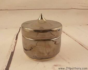 Ceramic Treasure Box - Lidded Container - Keepsake Jar - Handmade Stoneware - Ready to Ship - Antique Silver Glaze - Opal Interior v642