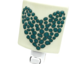Night Light, Cream Turquoise and Green, Modern Art Glass