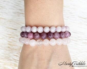 Gemstone Bracelet Set, Rose Quartz Bracelet, Kunzite Bracelet, Lepidolite Bracelet, Stackable Stone Bracelet, Healing Crystal Bracelet