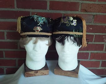Victorian gentlemen's black/gold/multicolor smoking/lounging caps