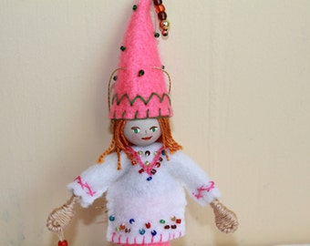 Boy with Pink pointy hat Hanging Ornament Felt Art Dolls and Miniatures Easter Decorations