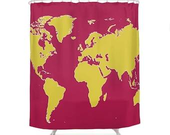 World map curtain Etsy