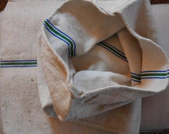 European Grain Feed Sack - Linen Green and Blue Stripe - Authentic - SHIP 5.00