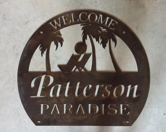 Personalized, metal sign with PALM TREES and BEACH Chairs