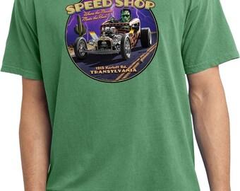 Men's Halloween Frankenstein Frankie's Speed Shop Pigment Dyed Tee T-Shirt 21506HD2-PC099