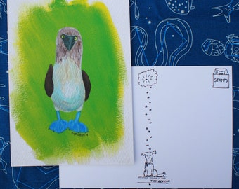 Blue Footed Booby Acrylic Painting Print Postcard
