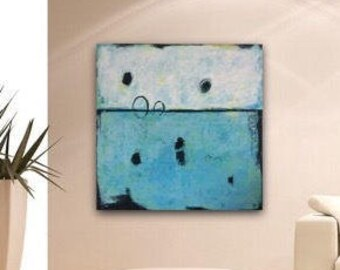 Original Large Abstract on Canvas Wall Art Modern Texture Turquoise Painting by Sonja Alfreider