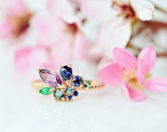 NOLA 1.50 ct. Sapphire and Emerald Cluster ring on 14K rose gold