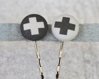 Swiss Cross Fabric Button Bobby Pin Pair