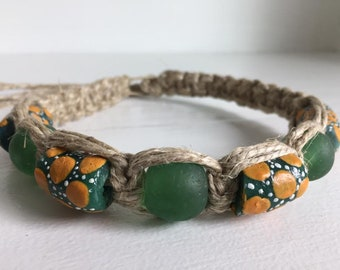 Variation on Vibrant Green African Trade Beads with Orange Specks and White Accent Dots on Thick Hemp with Green Glass Trade Bead Accents