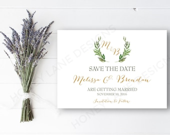 Personalised Printable, Save the Date, Printable Card - Melissa Collection