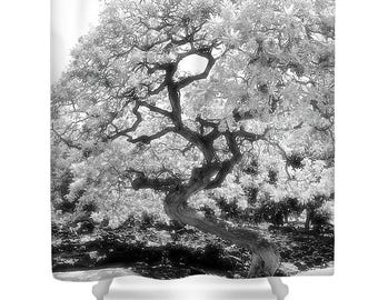 ASIAN TREE BW Black n White Huge Tree Shower Curtain Art Print Tree Bath Black White Bath Decor Tree Decor