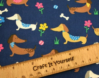 Blue Dogs Doggy 100% cotton fabric 59 inch / 150cm