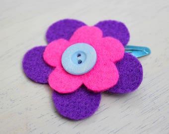 Colourful purple & pink felt flower hair clip
