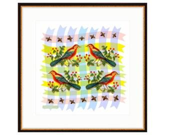 Red Bird Quartet - Bird Art - Framed Art - Vintage style birds - Living Room - gender neutral kid - art for nursery - art for kids room -
