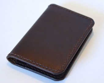 Leather Minimalist Wallet, Brown Leather Wallet, Card Wallet, Front Pocket Wallet