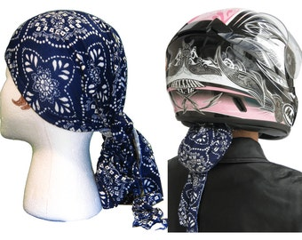 Vintage Blue Cool/Dry Women's Helmet Liner/Do-Rag. End Helmet Hair. No More Tangles/No More Knots! Just Beautiful Hair at Your Next Stop!