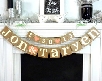 Wedding Garland / Custom Names Banner plus Date Banner / Wedding Banner / Couples Shower / Photo Prop / Engagement Party / Rustic Backdrop