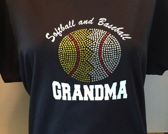 Softball and Baseball Grandma Rhinestone Shirt