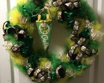 A's baseball wreath