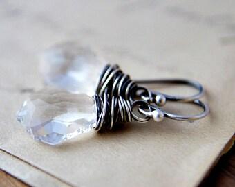 Crystal Earrings, Wire Wrapped, Crystal Jewelry, Swarovski Crystal, Dangle Earrings, Ice, Snow, Winter, Drop Earrings, Sterling Silver