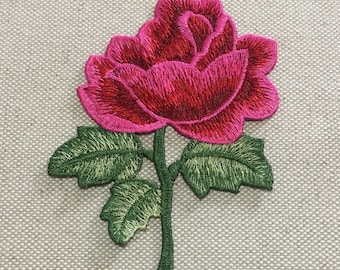 Hot Pink Flower Embroidered Appliques