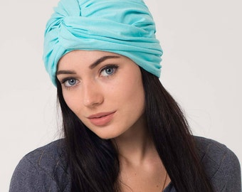 jersey turban women  turban headband hat  blue hair wrap  turban wrap women  wide headband  head scarf  head wraps for women   headscarf hat