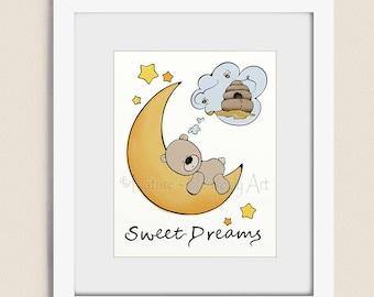 11 x 14 Teddy Bear Wall Art Print, Sweet Dreams Art, Childrens Art Print, Baby Boys Nursery Art, Teddy Bear Nursery Decor    (337)