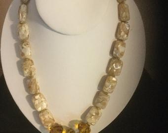 White marbelized bead necklace