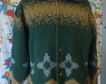 Vintage SUMAC DESIGNS southwestern New Mexico Santa Fe  indian  acrylic Blanket Sweater Jacket XL