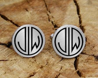 Engraved monogram cuff links, gatsby style cufflinks, engraved cufflinks, custom personalized cufflinks tie clip, engraved wedding cufflinks