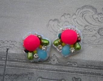 Fabulous Neon Pink Statement Earrings; Neon Art Deco earrings; Neon Pink Rhinestone earrings;