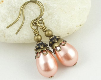 Bridesmaid Jewelry Pearls Earrings Custom Beaded Jewelry Bridal Jewelry Rose Peach Antique Brass Vintage Inspired Vintage Style