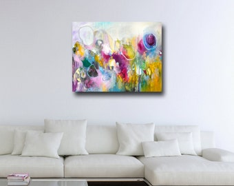 Abstract Canvas Print, Giclee Print, Wall Art, Large Canvas Print, Expressive Artwork, Large Abstract Canvas, Blue, Pink, Yellow, White Art