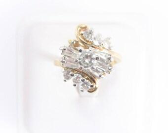 Vintage Clear Rhinestone Cluster Fashion Ring Size 9