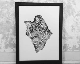 Yellowstone Tree Print, Woodcut Art, Tree ring art print, Father's Day Ideas, Best Dad Gifts, Dad Art, Arborist art gifts, Naturalist art