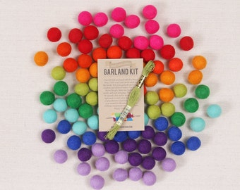 Felt Pom-Poms // Bright Side // Rainbow Garland Kit, Trolls Color Palette, DIY Garland, Rainbow Crafts, Bright Felt Balls, Wool Felt Beads