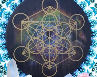 "XL 18"" or 24"" wooden crystal grid base/altar board/wall mandala, nebula/Metatron's cube sacred geometry - Made to Order"