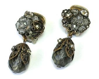 40s  DeMario Dangle Rhinestone Earrings | Smokey Gray Rhinestone Clip Earrings |  DeMario