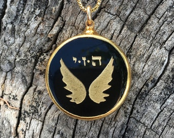Angel Wings Necklace, with Kabbalah 72 Name of God Gold Plated Black Glass. Spiritual Gift. Gold Filled Chain Included. Pin if you like it!