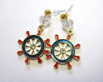 Ships Wheel Nautical Earrings Enamel Red White Blue Dangle Rockabilly Pinup Jewelry