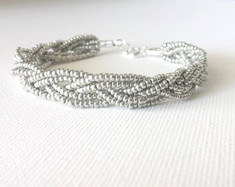 Silver beaded bracelet,gray bracelet,braid bracelet,seed bead bracelet,beaded bracelet,bridesmaid gifts,anklet, bridesmaids bracelet,for her