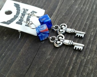 Blue Square Glass Bead and Key Charm Fashion Earrings Trendy Color - 925 sterling silver - Red accents - leverback - gift idea
